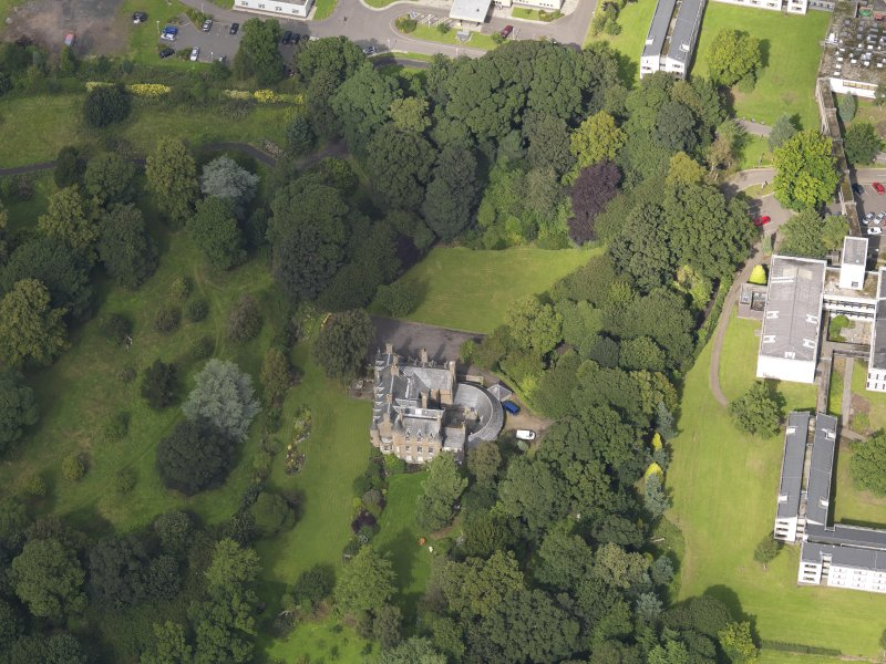 Oblique aerial view of the house taken from the S.
