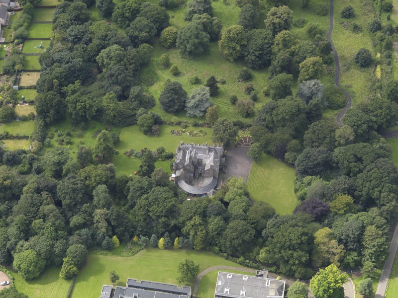 Oblique aerial view of the house taken from the E.