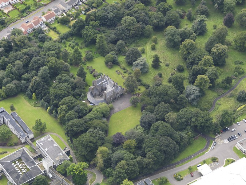 Oblique aerial view of the house taken from the NE.