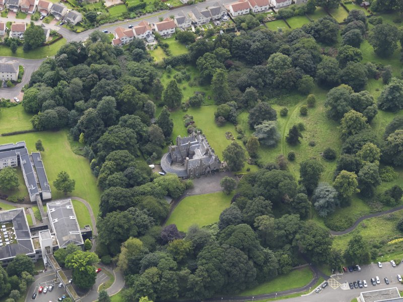 Oblique aerial view of the house taken from the N.