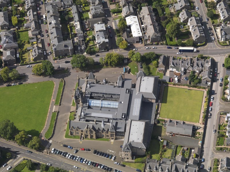 Oblique aerial view of the academy taken from the SE.