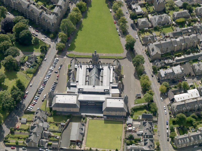 Oblique aerial view of the academy taken from the NNE.