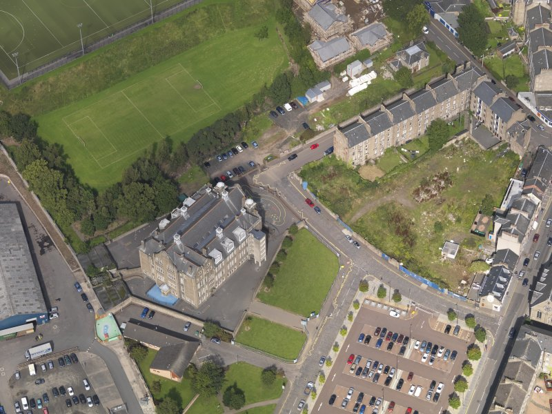Oblique aerial view of the school taken from the S.