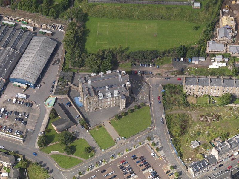 Oblique aerial view of the school taken from the SSE.