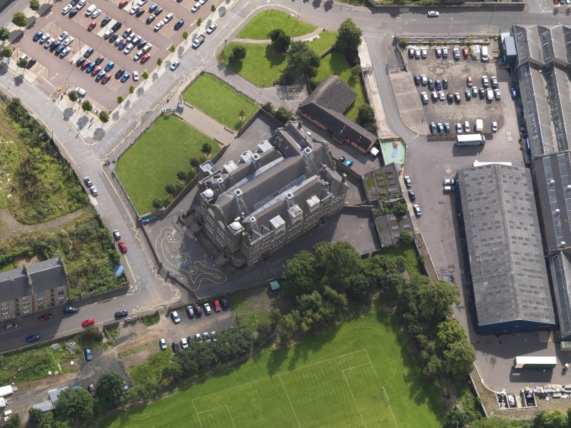 Oblique aerial view of the school taken from the SSW.