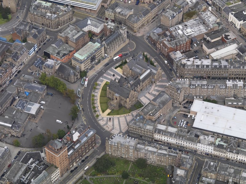 General oblique aerial view of the Albert Square area, centred on the Albert Institute taken from the SW.