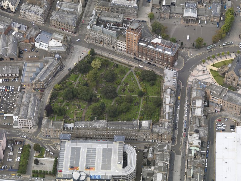General oblique aerial view of the Meadowside area, centred on The Howff taken from the ESE.