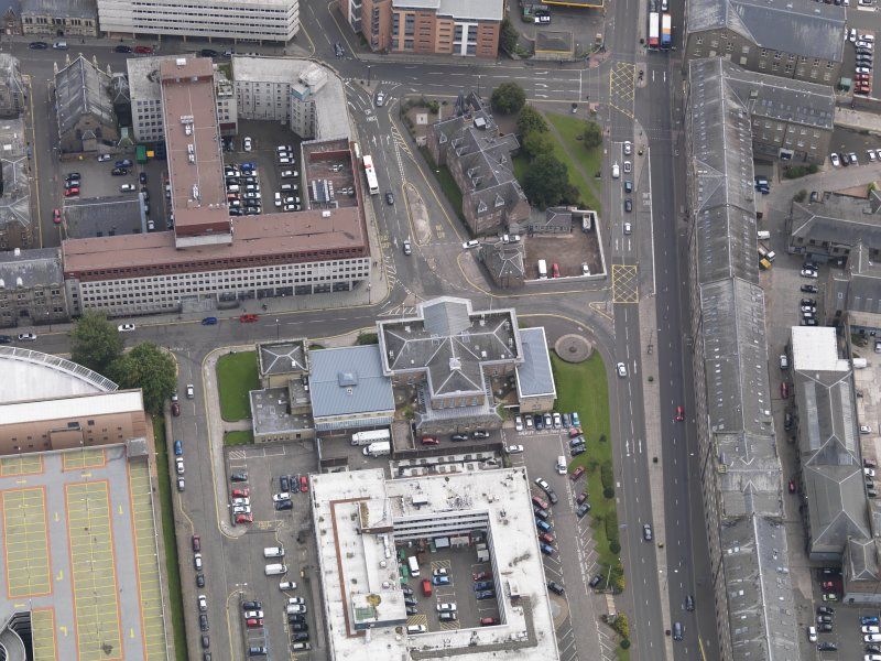General oblique aerial view of the West Marketgait area, centred on the Sherrif Courts taken from the NNW.
