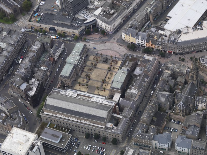 General oblique aerial view of the City Square area, centred on the Caird Hall taken from the SE.