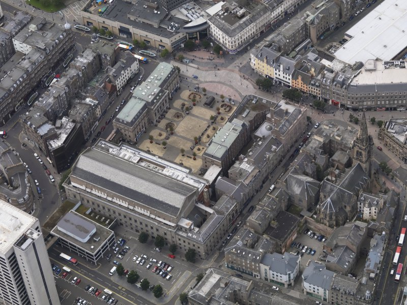 General oblique aerial view of the City Square area, centred on the Caird Hall taken from the E.