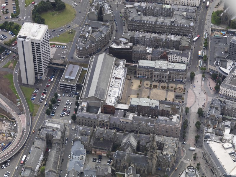 General oblique aerial view of the City Square area, centred on the Caird Hall taken from the NNE.