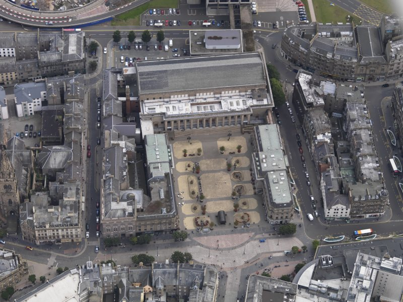 General oblique aerial view of the City Square area, centred on the Caird Hall taken from the NW.