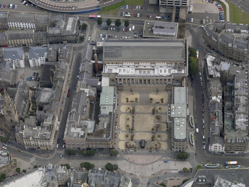 General oblique aerial view of the City Square area, centred on the Caird Hall taken from the NNW.
