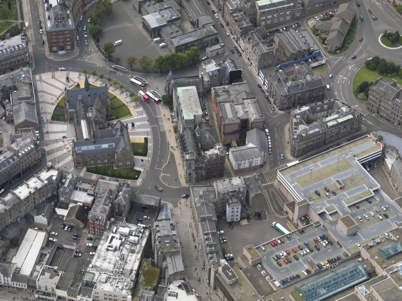 General oblique aerial view of the Albert Square area, centred on the Royal Exchange taken from the E.