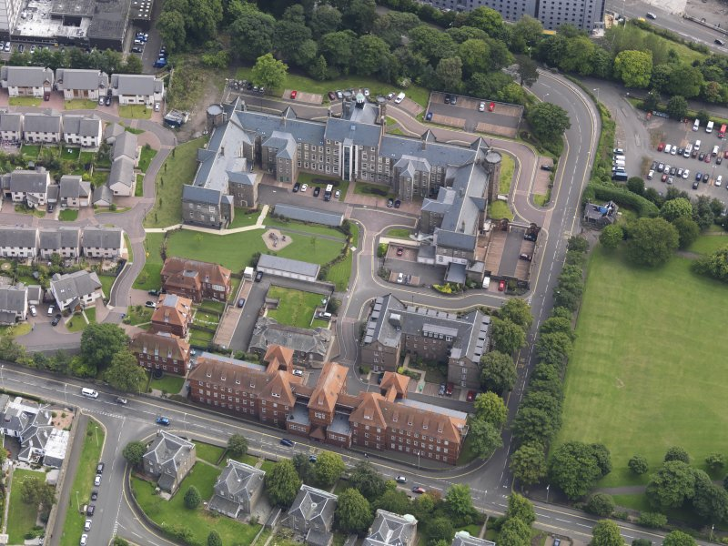 Oblique aerial view of the hospital taken from the N.