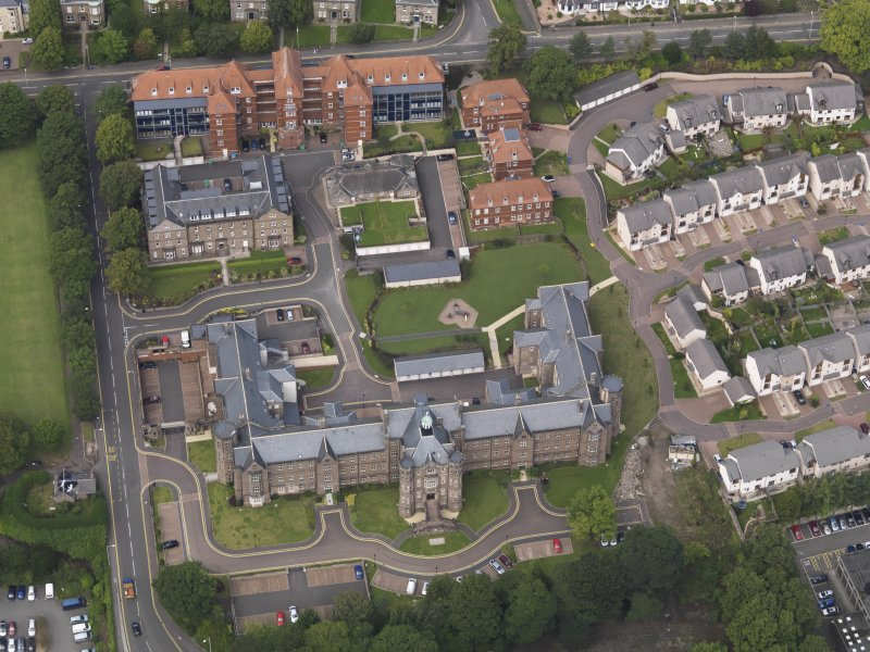 Oblique aerial view of the hospital taken from the S.