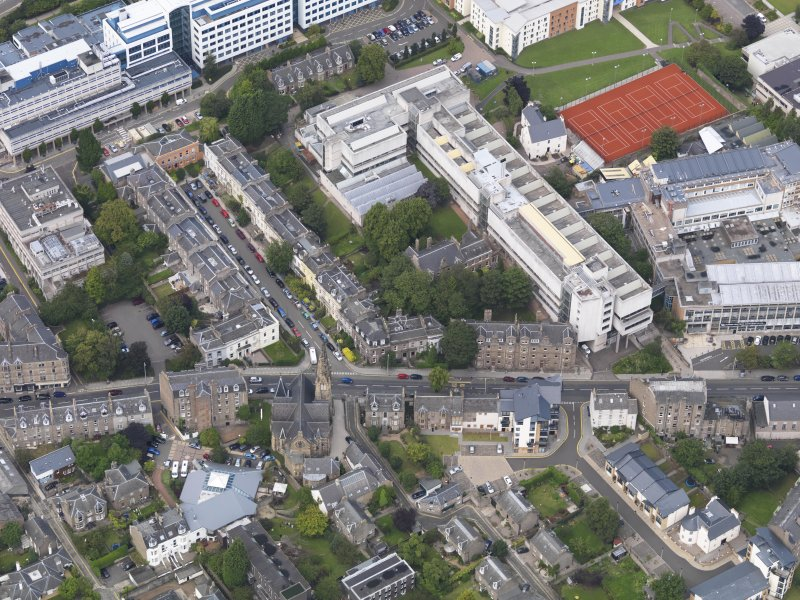 General oblique aerial view of the Perth Road, centred on St Mark's Church taken from the S.