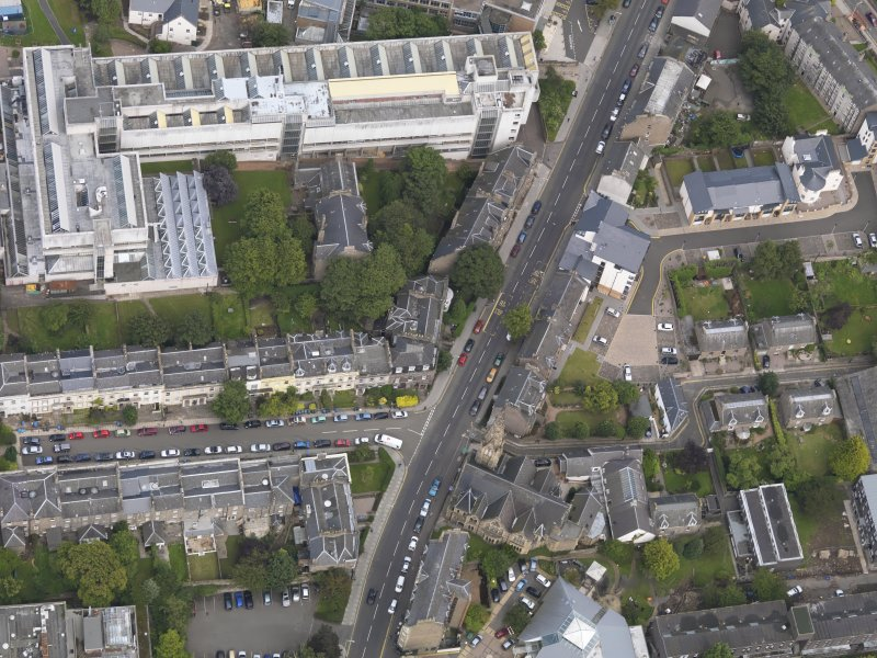 General oblique aerial view of the Perth Road, centred on St Mark's Church taken from the W.