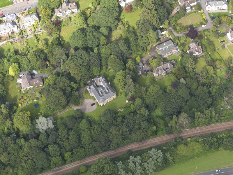 Oblique aerial view of the houses off the Perth Road taken from the SSW.