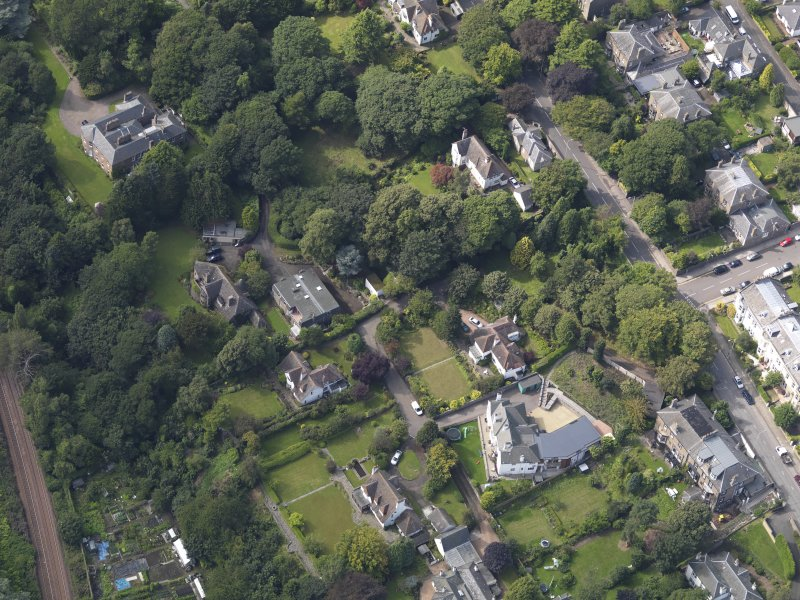 Oblique aerial view of the houses off the Perth Road taken from the SE.