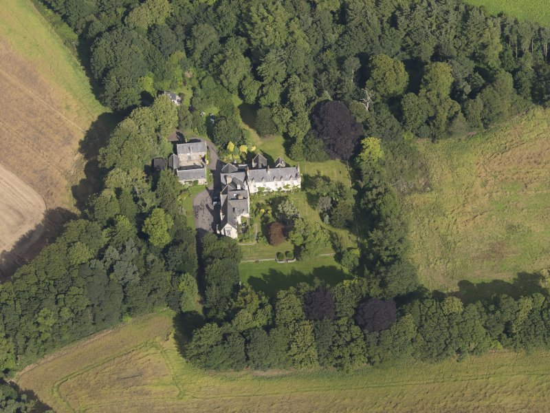Oblique aerial view of the house taken from the WSW.