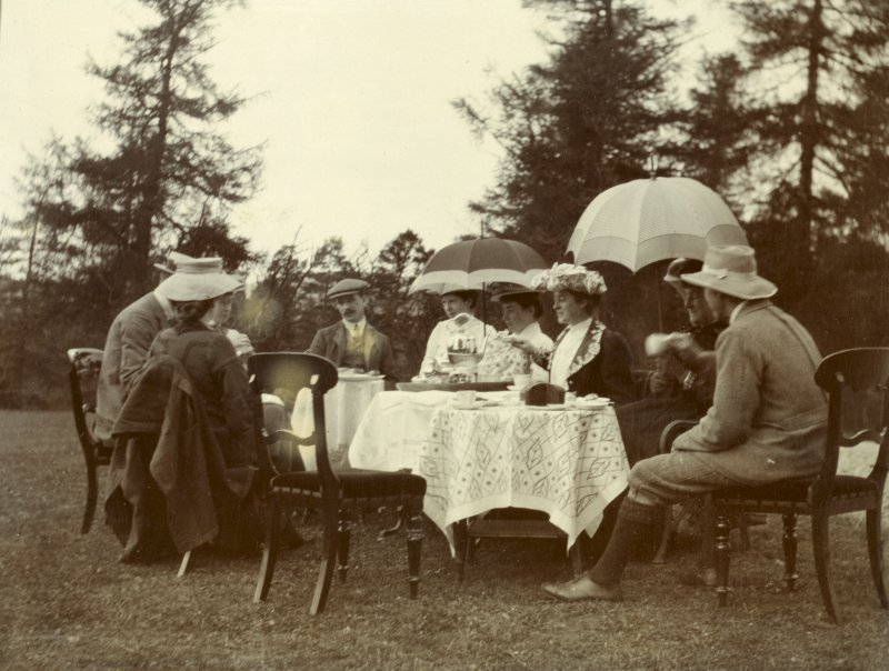 View of teaparty in unidentified garden (probably Achernack,Strathdon)