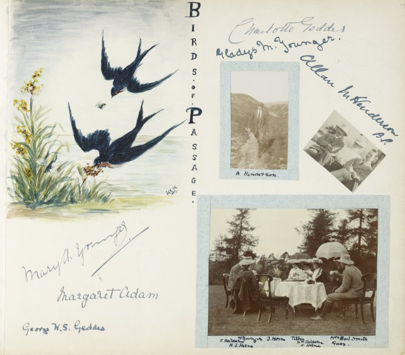 Album page with signatures, a drawing of two birds and three photographs, including one of 'A Henderson' and a teaparty in unidentified garden. From photograph album 68: the Isabel Asher Album