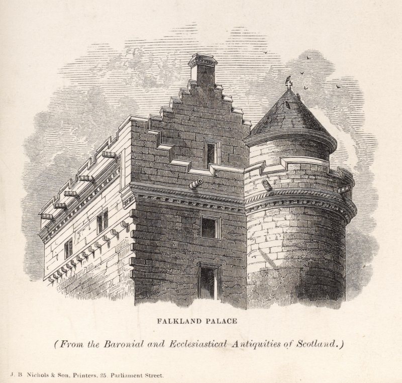 Falkland Palace, engraving of upper part of tower. Titled 'FalklandPalace. From the Baronial and Ecclesiastical Antiquities of Scotland. J. B. Nichols & Son, Printers, 25 Parliament Street. [Billings1845-52.]