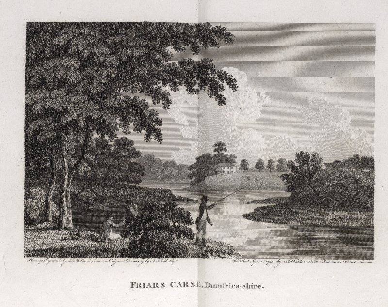 Engraving of Friar's Carse, showing a 2-storey house in distance above River Nith.  Titled: 'Friars Carse, Dumfries-shire. Plate 39, Engraved by T. Medland from an original drawing by A. Reid, Esqr. P ...