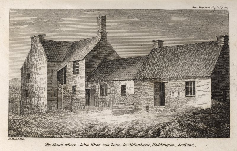 Engraving of John Knox's birthplace showing L-shaped 2-storey house & 2 adjoining cottages. Titled 'The house where John Knox was born, in Giffordgate, Haddington, Scotland. M.R. del. 1810. Gent. Mag. ...