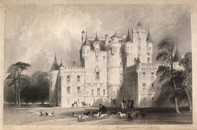 Engraving of Glamis Castle, front view. Titled 'Glammis Castle, (in pencil) and T. Allom. W. Tombleson.'