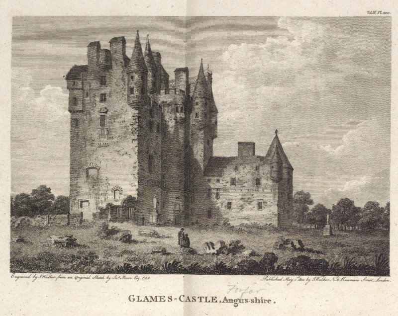 Engraving of Glamis Castle, general view.  Titled: 'Glames Castle, Angus-shire (crossed out with Forfar written in pencil). Engraved by J. Walker from an original sketch by Jas. Moore Esq. F.A.S. Published May1st, 1800 by J. Walker, No. 16 Rosoman's Street, London.  Vol. IV Pl.200.'