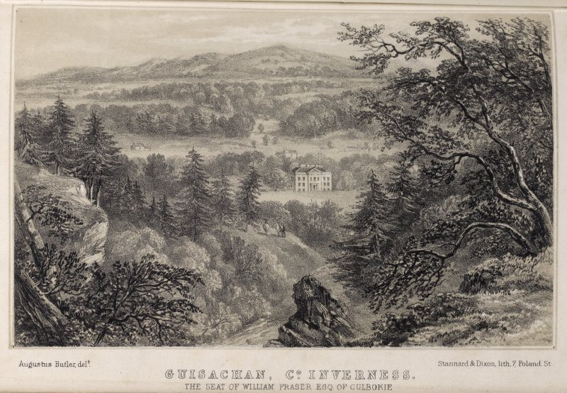Engraving of distant view of Guisachan House in its landscape. Titled: 'Guisachan , Co. Inverness. The seat of William Fraser, Esq. of Culbokie. Augustus Butler Delt. Stannard & Dixon, lith. 7 Poland St.'