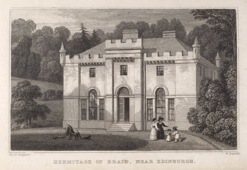 Edinburgh, engraving of Hermitage of Braid,  front view. Titled: 'Hermitage of Braid, Near Edinburgh. Tho. H. Shepherd. W. Radcliffe.