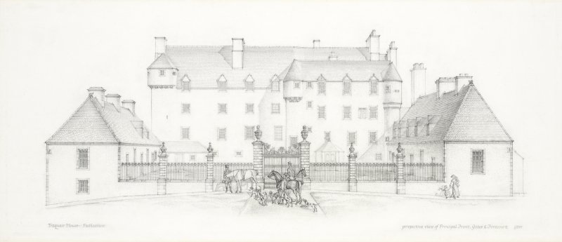 Perspective view of Principal Front, Gates & Forecourt inscribed 'Traquair House, Peeblesshire'.