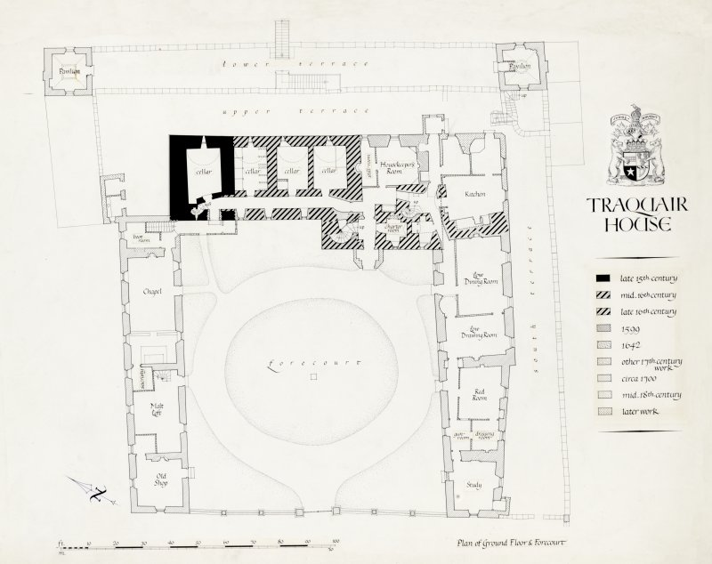 Plan of Ground Floor & Forecourt inscribed 'Traquair House'.