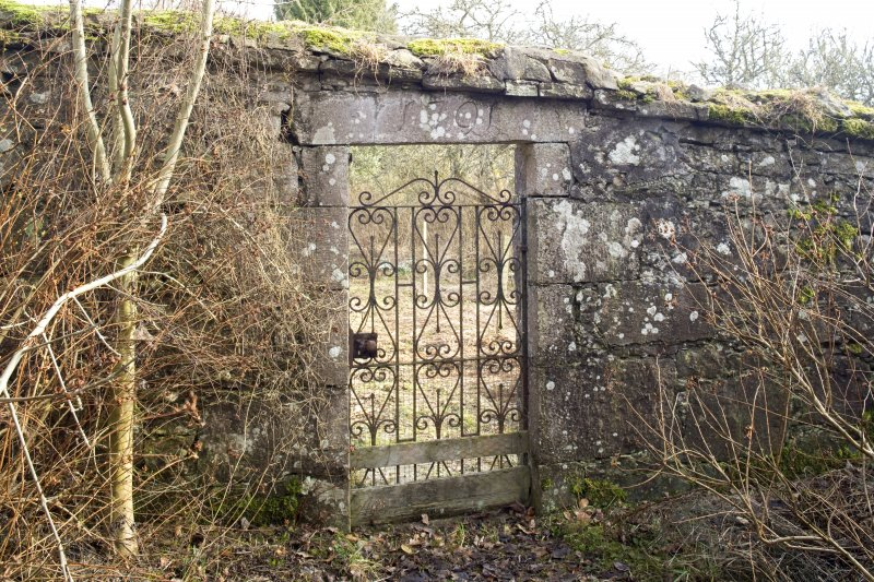 View of gate and to walled garden