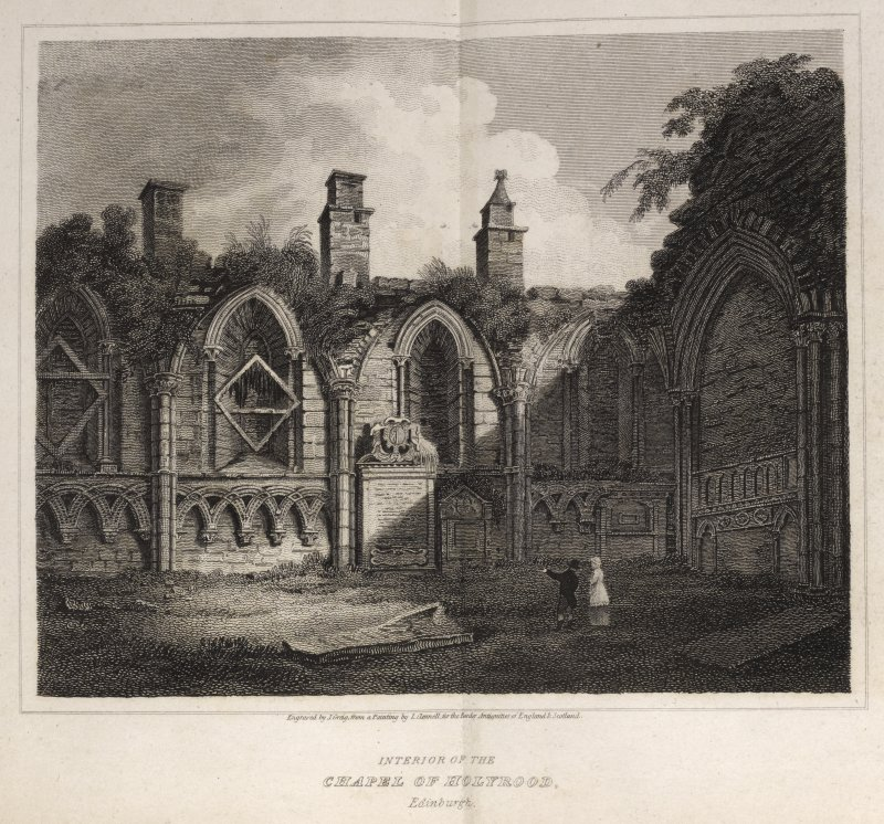 Engraving of a corner of interior of the Chapel of Holyrood, Edinburgh, showing 5 arched niches with decorative stonework below. Titled ' Interior of the Chapel of Holyrood, Edinburgh. London, Published Jan.1st, 1815 for the Proprietors by Longman & Co. Paternoster Row. Engraved by J. Greig from a painting by L. Clennell for the Border Antiquities of England & Scotland.