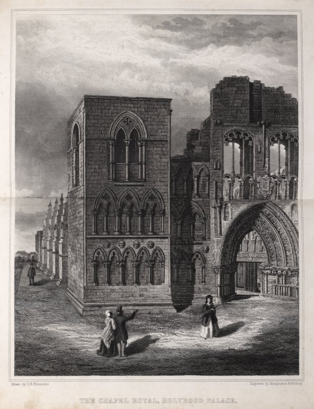 Edinburgh, engraving of exterior of east front of the Chapel Royal, Holyrood Palace, showing square tower & entrance archway. Titled ' The Chapel Royal, Holyrood Palace. Drawn by T. Flounders. Engraved by MacGlashon & Wilding.'