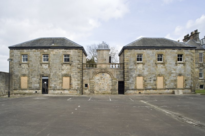 View of the pavilions at Cumbernauld House, taken from the South-West.