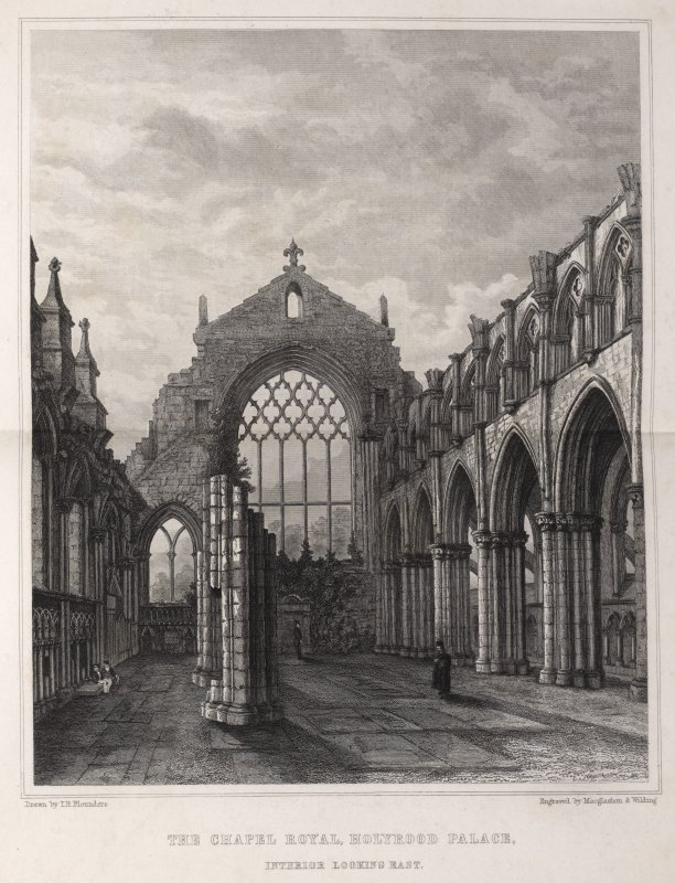 Edinburgh, engraving of interior of the Chapel Royal, Holyrood Palace looking east. Titled 'The Chapel Royal, Holyrood Palace, Interior looking east. Drawn by T.H. Flounders. Engraved by MacGlashon & Wilding.'