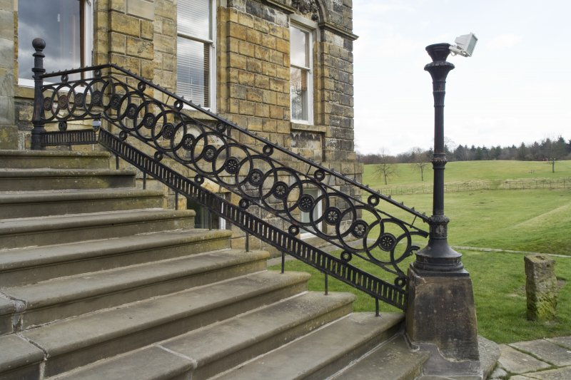Detail of the entrance steps and balustrade at Cumbernauld House, Cumbernauld.