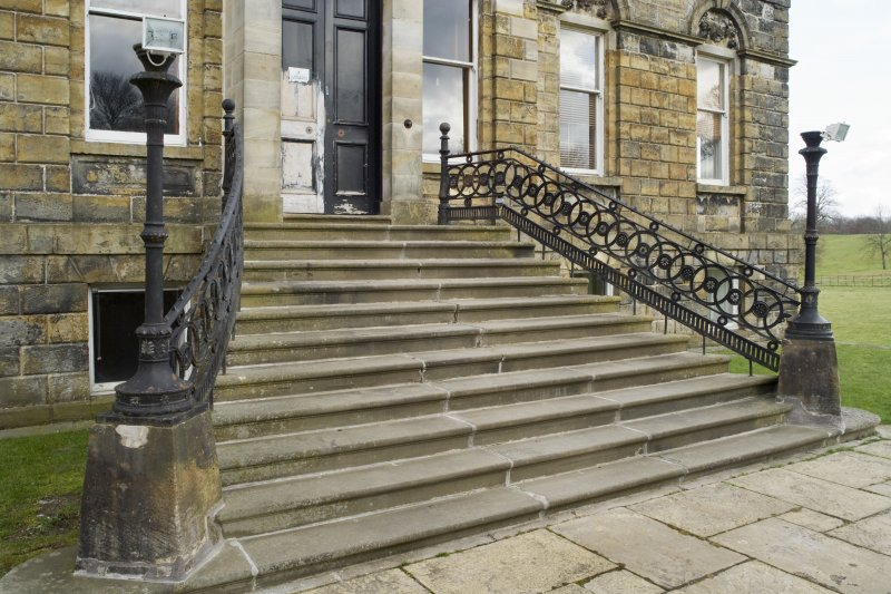 Detail of the entrance steps at Cumbernauld House, Cumbernauld.