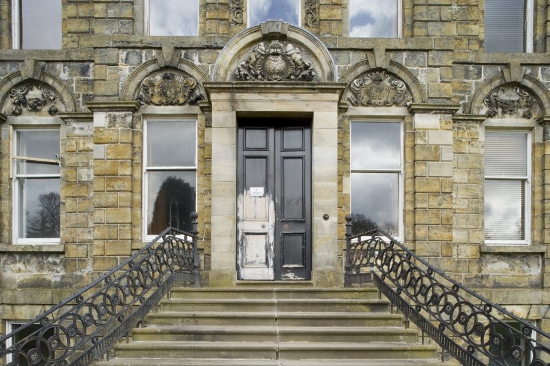 Detail of the main entrance and entrance steps of Cumbernauld House, Cumbernauld.