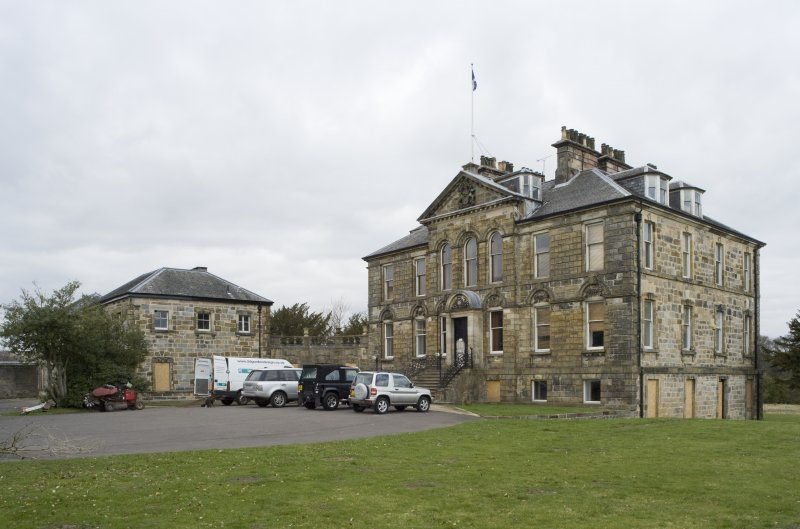 General view of Cumbernauld House, Cumbernauld, taken from the South. The main house and the East elevation of the Eastern Pavilion can be seen.