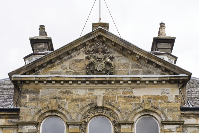 Detail of the central pediment to the South-West (principle) elevation of Cumbernauld House, Cumbernauld.