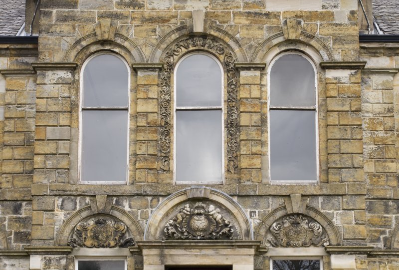 Detail of the first floor windows to the central bay of the South-West (principle) elevation of Cumbernauld House, Cumbernauld.