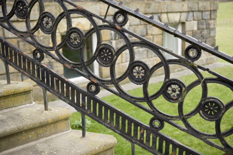Detail of the railings to the entrance steps on the South-West (principle) elevation of Cumbernauld House, Cumbernauld.