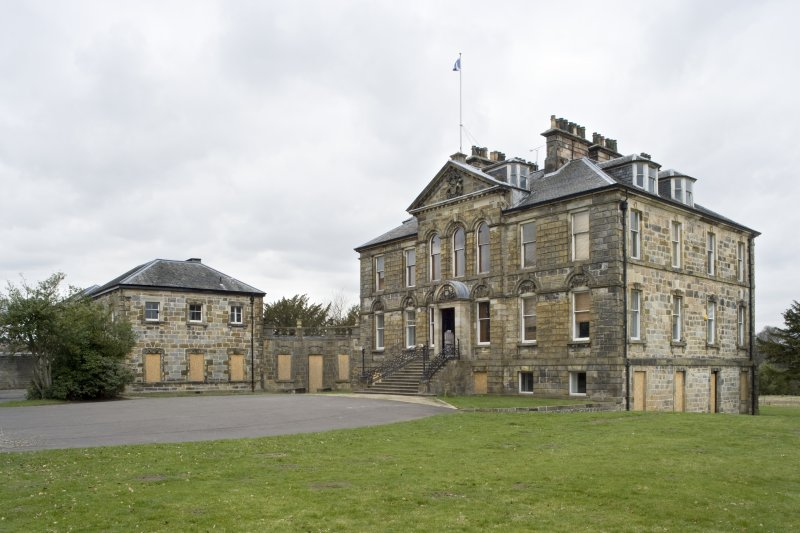 General view of Cumbernauld House, Cumbernauld, taken from the South. The photograph shows the main house, linking corridor and the Eastern Pavilion.