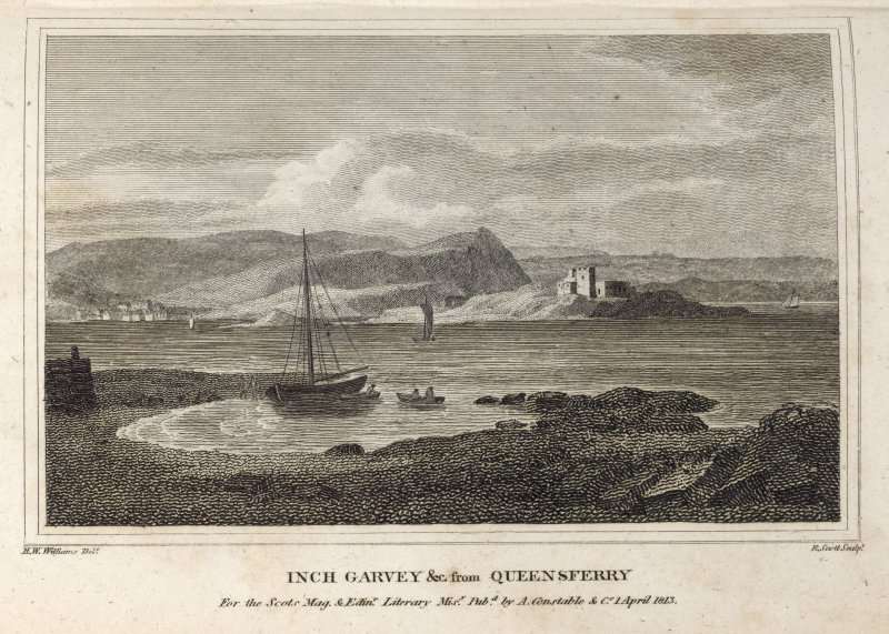 Engraving of Inch Garvie & Castle from S. Queensferry. Titled 'Inch Garvey &c from Queensferry, for the Scots Mag. and Edinr. Misy. Pubd. by A. Constable & Co. 1 April, 1813. H.W.Williams Delt. R. Scott, Sculpt.'